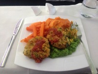 Vegetarian Special Meal - some sort of veggie patty with sweet potato mash & green peas